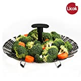 Licok Stainless Steel Steamer Basket – Steamer Basket with Extendable Plastic Handle, Foldable Legs with Silicone Feet, Folding Stainless Steel Petals Expandable to Fit Various Size Pot(7