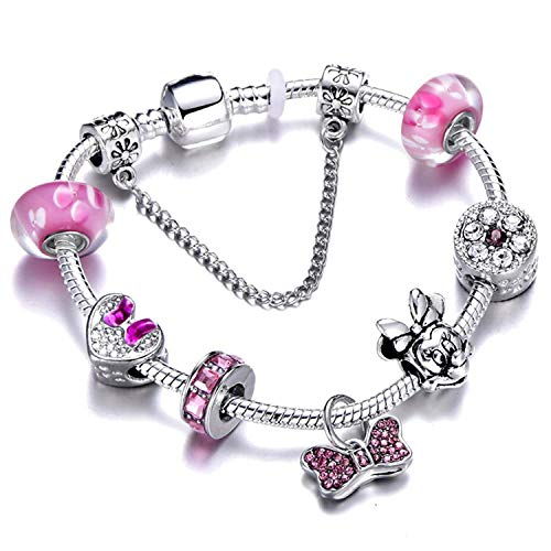 Ink White Silver Charms Bracelet Bangle for Women Crystal Flower Beads Bracelets Jewelry,Ad0358,19Cm