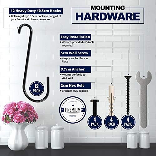 Pot Rack Organizer with Upgraded Hardware, Support Brackets & Welds, Wall Hanging Pot and Pan Organizer, 12 Hooks Included, Easy to Install, Kitchen Organization Solution for Heavy Pots and Pans by Mainroom Studios (Image #6)