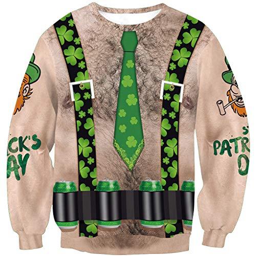St Patrick's Day Men's Funny Irish Shamrock Flag Sweatshirt Long Sleeve Clover Printed Shirt Chest Hair L