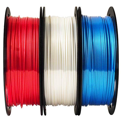 Shiny Silk Pearl White Ruby Red Sapphire Blue 3D Printer PLA Filament Bundle - 1.75mm 3D Printing Material Each Spool 0.5kg Total 3 Spools 1.5kgs Pack MIKA3D ()