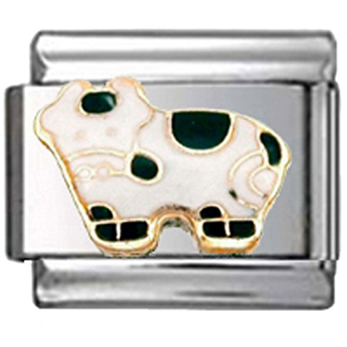 Stylysh Charms Cow Black White Enamel Italian 9mm Link AN110