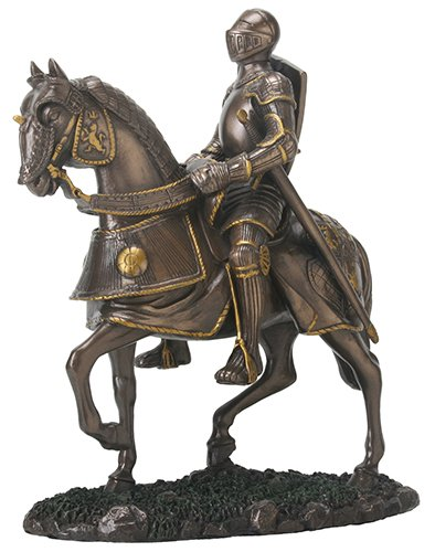 - Shiny Bronze and Silver Colored English Knight on Horse Figurine