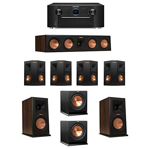 Klipsch-72-Walnut-System-with-2-RP-160M-Monitor-Speakers-1-RP-450C-Center-Speaker-4-Klipsch-RP-240S-Ebony-Surround-Speakers-2-Klipsch-R-110SW-Subwoofer-1-Marantz-SR7011-AV-Receiver