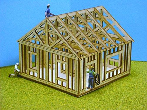 - Train Time Laser HO SCALE ** Laser Cut ** Single Story House Under Construction Kit