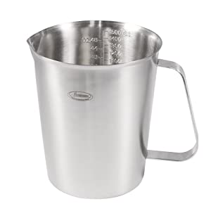 Measuring Cup, [Upgraded, 3 Measurement Scales, Including Cup Scale, ML Scale, Ounce Scale], Newness Stainless Steel Measuring Cup with Marking with Handle, 48 Ounces (1.5 Liter, 6 Cup)