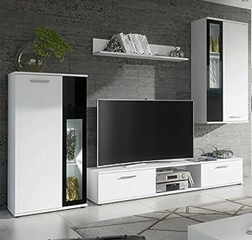 muebles bonitos mueble de saln atila blanco mate y cristal negro 235m - Muebles Bonitos