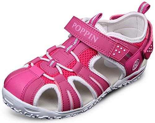 Kids Stretch Sandal (Poppin Kicks Boys' Girls' Fisherman Closed Toe Sport Sandals Hot Pink 12.5 M US Little Kid)