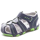 Boy's Girl's Athletic Sandals Closed-Toe Shoes Outdoor Beach, 2.5 US Little Kid, Grey