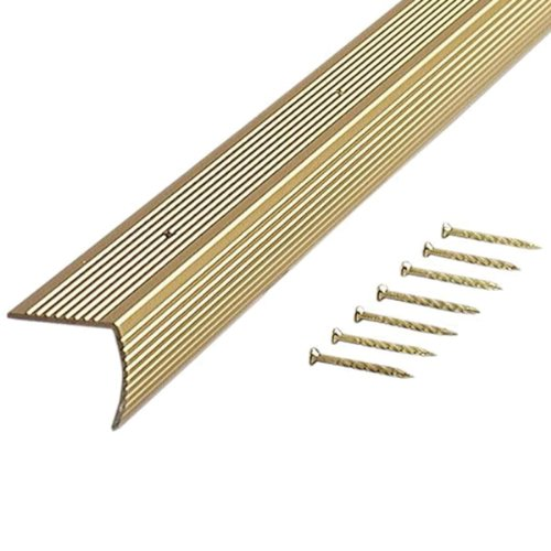 M D Building Products 79020 Fluted 1 1/8 Inch By 1 1/8 Inch By 36 Inch Stair  Edging, Satin Brass