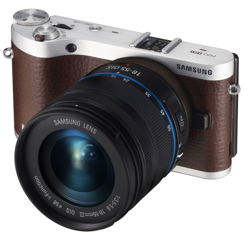 Samsung NX300 20.3MP CMOS Smart WiFi Mirrorless Digital Camera with 18-55mm Lens and 3.3″ AMOLED Touch Screen (Brown) For Sale