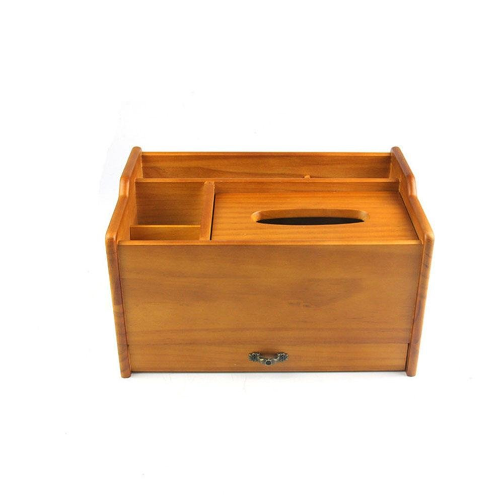 Wooden Multifunction Tissue Box Cover with Drawer Handmade for Home Office Car Decor, log color, 2919.517cm