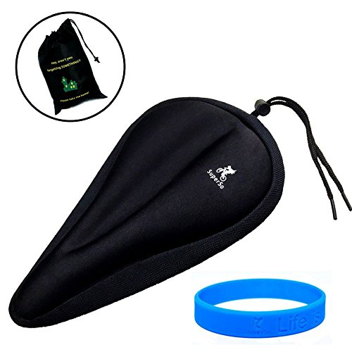 Gel Saddle Cover (SuperSo Bike Gel Seat Cushion Cover - Premium Padded Bike Saddle - Comfortable Exercise Bicycle Cover with Florescent Pouch Bag & Cyclist Wristband (Black, 11.1