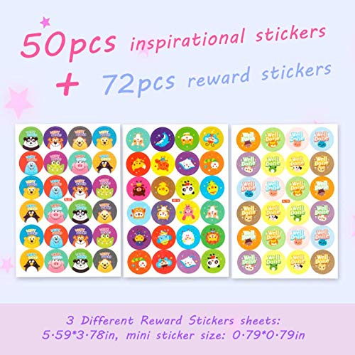 112pcs Inspirational Stickers for Water Bottles, [Hello World] 50pcs Motivational Stickers+72pcs Reward Stickers for Scrapbook, Planner, Students, Quote Positive Word Stickers for Teen