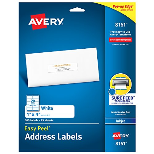 Avery Address Labels with Sure Feed for Inkjet Printers, 1 x 4, 500 Labels, Permanent Adhesive (8161)
