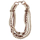 Vintage Copper Faux Pearl Beaded & Chocolate Jeweled Women's One Size Metal Fashion Necklace