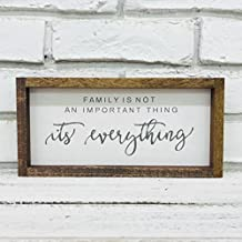 """Madi Kay Designs Family Is Not An Important Thing, It's Everything Farmhouse Sign home decor Framed Wood Sign inspirational 6"""" x 12"""" with 1"""" Walnut frame"""