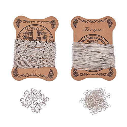 PH PandaHall Silver Necklace Making Set - 5 Yards Iron Twisted Curb Link Cable Chains, 5 Yards Iron Cross Chain, 20pcs Lobster Claw Clasps and 100pcs Jump Rings for Jewelry Making ()