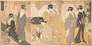 Utagawa Toyokuni I – Women and an Infant Boy in a Public Bath House Artistica di Stampa (45,72 x 60,96 cm)