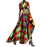 Winwinus Women's 2pcs Set Africa Pants Fit Dashiki Printing Party Long Dress 5 L