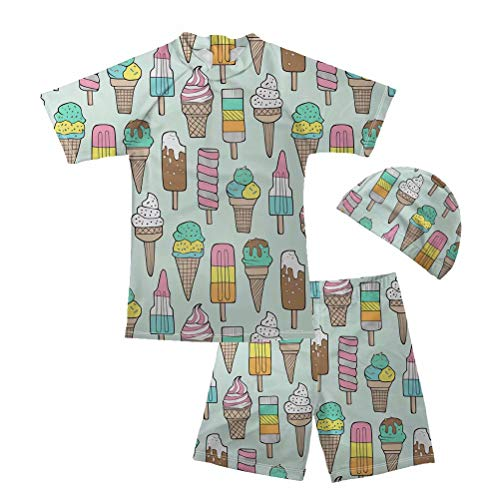 FOR U DESIGNS Boys Swimsuit Two Piece Swimwear Set Ice Cream Print Rash Guard Trunk Swim Set with Cap 5-6 Years