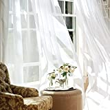 White Sheer Curtains for Living Room 95 inch Window Drapes for Bedroom Sheers Floor Length Rod Pocket Voile Curtain Panels 1 Pair