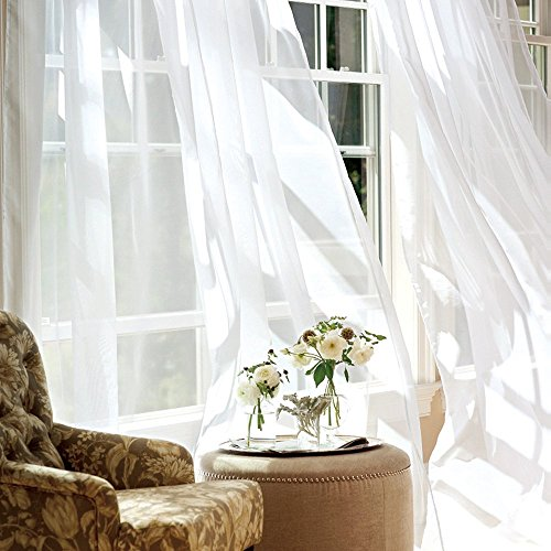 jinchan White Sheer Curtains 95 inches Long for Living Room Rod Pocket Drapes for Bedroom Voile Window Curtain Set (1 Pair, White) (Long Sheers)