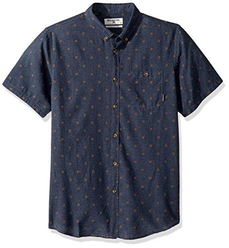 (Billabong Men's All Day Jacquard Short Sleeve Woven Shirt, Navy Heather S)