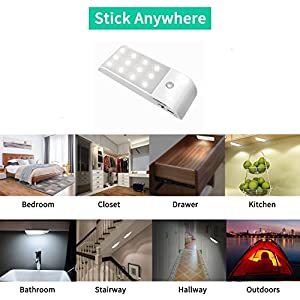 Savman Rechargeable Motion Sensor Night Light, 12 LED Lighting Closet Cabinet Bathroom Stairway Hallway Light for Baby…