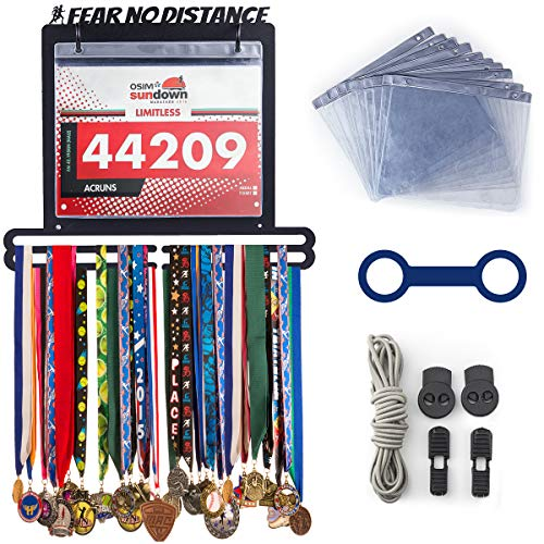 Running Medal Holder Hanger for Runners Race Bib Rack | Fear No Distance | Sports Enthusiasts' Gift | Free Protector Sheets + Locking Laces + Bottle Carrier Grip + Wrist Band
