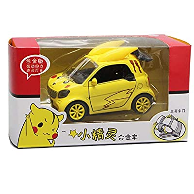 Alician Cartoon Alloy Car Model Sound Light Door Open Baking Cake Decoration 3815 (Black Bear Smart): Toys & Games
