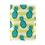 Green Pineapples Yellow And White One Pocket Leather Passport Holder Cover Case Protector for Men Women Travel