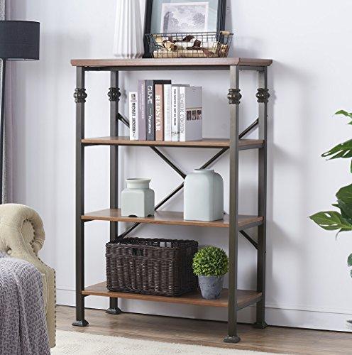 O&K Furniture 4-Shelf Industrial Open Bookcase, Wood and Metal Vintage Etagere Bookshelf, Maple