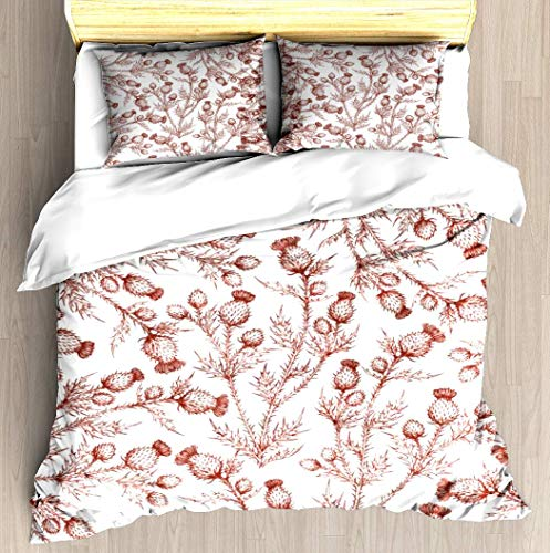 ZOMOY Thistle in Autumn Duvet Cover Set Designed Pattern Comforter Bedding Cover Pillow Shams 3 Piece Bed Duvet Cover Twin/XL