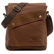 Magictodoor Small Vintage Canvas Messenger Bag Ipad Shoulder Bag Travel Portfolio Bag AG9088kafei.ca