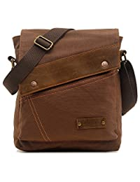 Magictodoor Small Vintage Canvas Messenger Bag Ipad Shoulder Bag Travel Portfolio Bag AG9088kafei.ca