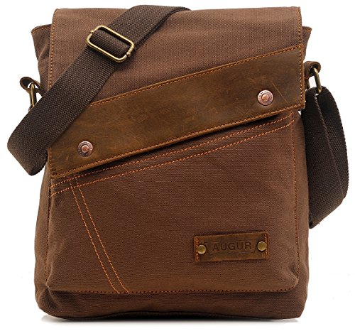 Price comparison product image AG9088kafei Magictodoor Small Vintage Canvas Messenger Bag Ipad Shoulder Bag Travel Portfolio Bag
