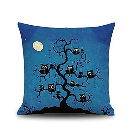 MAYUAN520 Cojines Halloween Gatos Ilustración Arrojar Funda De Almohada Masajeador Almohadas Decorativas Caso Zip Bricolaje Decoracion