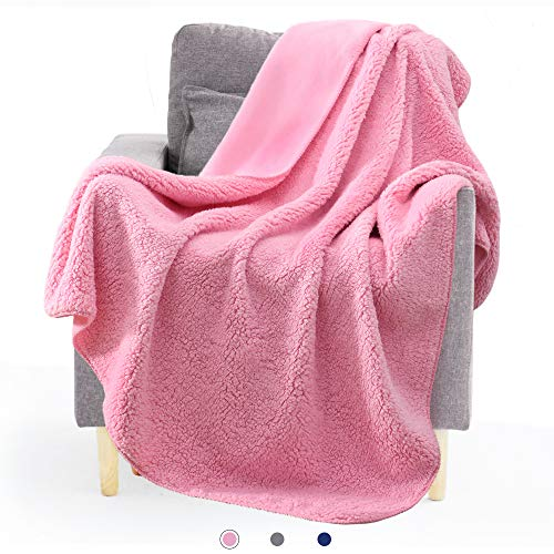 Kawahoney Sherpa Fleece Blanket Pink Twin Size Super Soft Warm Fuzzy Cozy Plush Fluzzy Fuzzy Thick Luxurious Anti-Static Hypoallergenic for Couch Sofa Bed Gift