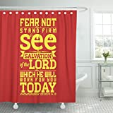 Breezat Shower Curtain Bible Typographic Fear Not Stand Firm and See the Salvation of Lord Which He Will Work for You Today Waterproof Polyester Fabric 60 x 72 Inches Set with Hooks