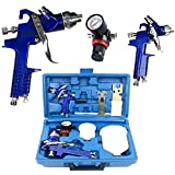 YaeTek 0.8 & 1.4 Nozzle Paint Base Primer HVLP 2-Spray Guns Kit Gauge