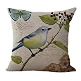 ChezMax Cotton Linen Cushion Bird Pattern Square Decor Pillow Decorative Throw Pillow 18'' X 18''