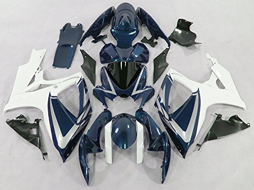Moto Onfire ABS Plastic Injection Fairings Body Kits For Suzuki GSX-R750 GSX-R600 K6 2006 2007 GSXR 600 750 K6 06 07 (Blue/White) Abs Plastic Body