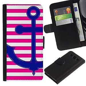 Pink Anchor Amor Líneas White Stripes- la tarjeta de Crédito Slots PU Funda de cuero Monedero caso cubierta de piel Para Samsung Galaxy S3 III i9300 i747