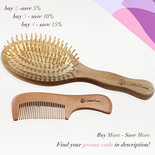 Velvetbreeze Natural Bamboo Hair Brush With Wooden Bristles