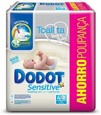 216 Toallitas Total Dodot Toallitas para Beb/é Sensitive Paquete de 4 x 54 Toallitas
