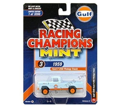 New DIECAST Toys CAR RACING CHAMPIONS 1:64 Mint - Gulf - 1959 Ford F-250 Pickup Truck (Light Blue/Orange) RCSP005-24 ()