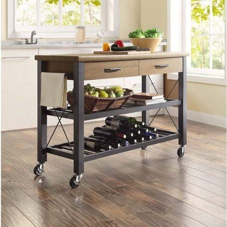 Whalen Santa Fe Kitchen Cart with Metal Shelves and TV Stand - Fe Santa Entertainment Wall