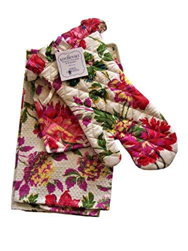 April Cornell Kitchen Set Tea Towel Oven Mitt Potholder Spring Summer Floral Motif