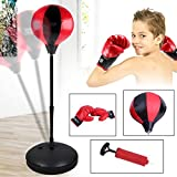 Homgrace Boxing Punching Ball with Stand and Gloves, Adjustable Boxing Set for Kids Agility Coordination and Fun